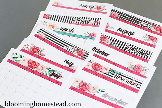 2016-Calendar-by-Blooming-Homestead-floral-and-stripes